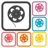 Film reel icons set Stock Photography