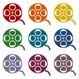 Film reel icons set. Vector icon vector illustration