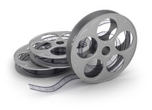 Film on the reel, isolated. 3D concept Royalty Free Stock Photo