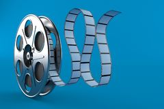 Film reel. Isolated on blue background. 3d illustration stock illustration