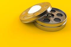 Film reel. Isolated on orange background. 3d illustration stock illustration