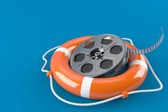Film reel with life buoy. Isolated on blue background. 3d illustration Royalty Free Stock Images