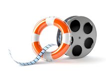 Film reel with life buoy. On white background Royalty Free Stock Photos