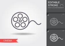 Film reel. Line icon with editable stroke. Film reel. Outline icon with editable stroke. Linear cinema symbol vector illustration