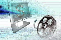 Film reel and monitor Royalty Free Stock Photo