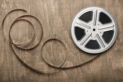 Film reel. Motion picture film reel on the table Stock Images