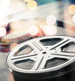 Film reel. Motion picture film reel on the table Royalty Free Stock Image