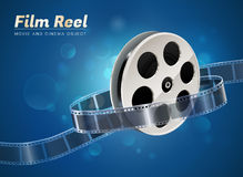 Film reel movie cinema object. Film reel cinema movie theater object on bokeh background Royalty Free Stock Photography