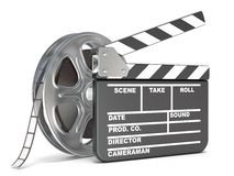 Film reel and movie clapper board. Video icon. 3D render. Illustration  on white background Stock Images