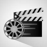 Film reel and movie design. Film reel and clapboard icon. Cinema movie video and film theme. Isolated design. Vector illustration Stock Images
