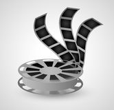 Film reel and movie design. Film reel icon. Cinema movie video and film theme. Grey design. Vector illustration Stock Images