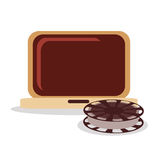 Film reel and movie design. Film reel and laptop icon. Cinema movie video and film theme. Colorful design. Vector illustration Royalty Free Stock Photography