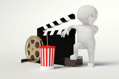 Film reel,movie strip,disposable cup for beverages with straw. On the withe background Stock Photos