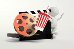 Film reel,movie strip,disposable cup for beverages with straw. On the withe background Royalty Free Stock Images