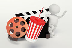 Film reel,movie strip,disposable cup for beverages with straw. On the withe background Stock Photography