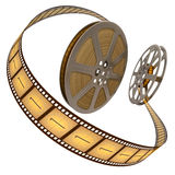 Film Reel Over White. Concept of Industry cinematographic Royalty Free Stock Photo