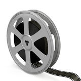 Film reel over white background. Royalty Free Stock Image