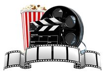Film reel with popcorn and clapboard. On white background Stock Photos