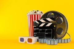 Film reel with popcorn and 3d glass. On orange background Stock Photography