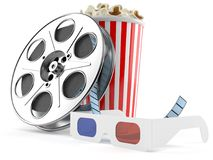 Film reel with popcorn and 3d glasses. On white background Stock Image