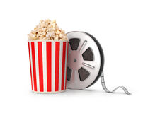 The film reel and popcorn. 3d illustration Royalty Free Stock Photo