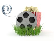 Film reel with popcorn Royalty Free Stock Photos