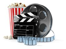 Film reel with popcorn. Isolated on white background Royalty Free Stock Photos