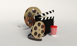 Film reel,popcorn,movie strip,disposable cup for beverages with. Straw on the withe background Stock Photography