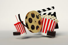 Film reel,popcorn,movie strip,disposable cup for beverages with. Straw on the withe background Stock Photos