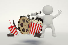 Film reel,popcorn,movie strip,disposable cup for beverages with. Straw on the withe background Stock Image
