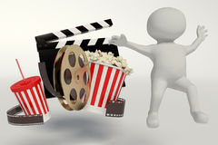 Film reel,popcorn,movie strip,disposable cup for beverages with Royalty Free Stock Image
