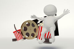 Film reel,popcorn,movie strip,disposable cup for beverages with Royalty Free Stock Photography