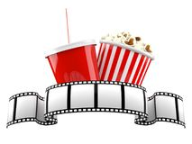 Film reel with popcorn and soda. Isolated on white background Royalty Free Stock Photo