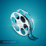 Film Reel Realistic. 3d isolated icon on blue background vector illustration Stock Image