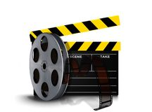 Film reel roll with clapperboard. Over white Stock Image