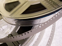 Film reel serie 5. Two film reels with blank film strips royalty free stock photo
