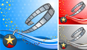 Film reel with star button set Stock Photos