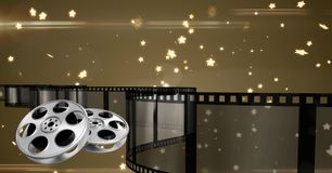 Film reel with stars in background. Digitally generated image of film reel with stars in background Stock Photo
