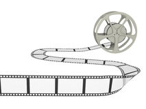 Film Reel with Strip. A film reel with long curvy strip. Isolated on white stock illustration