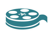 Film reel , Vector illustration over white background. Blue film reel  illustration isolated over white Stock Photography