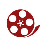 Film reel , Vector illustration over white background. Red film reel  illustration isolated over white Stock Photos