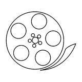 Film reel , Vector illustration over white background. Simple black line film reel  illustration isolated over white Royalty Free Stock Photo