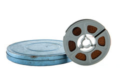 Film Reel. A vintage film reel and canister against a white background Royalty Free Stock Photography