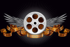 Film reel with wings. And ribbon vector illustration