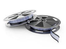 Film reels. 3d illustration of film reel stack  on white background Stock Images
