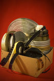 Film reels in a box Stock Photos
