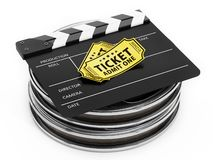 Film reels, clapboard and cinema tickets isolated on white. 3D illustration. Film reels, clapboard and cinema tickets isolated on white background. 3D vector illustration