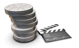 Film reels and clapper board Royalty Free Stock Image