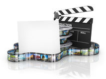 Film Reels and Clapper board and cardboard Royalty Free Stock Image