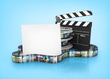 Film Reels and Clapper board and cardboard Royalty Free Stock Images